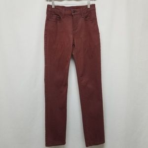 NYDJ maroon red wax treated skinny jeans